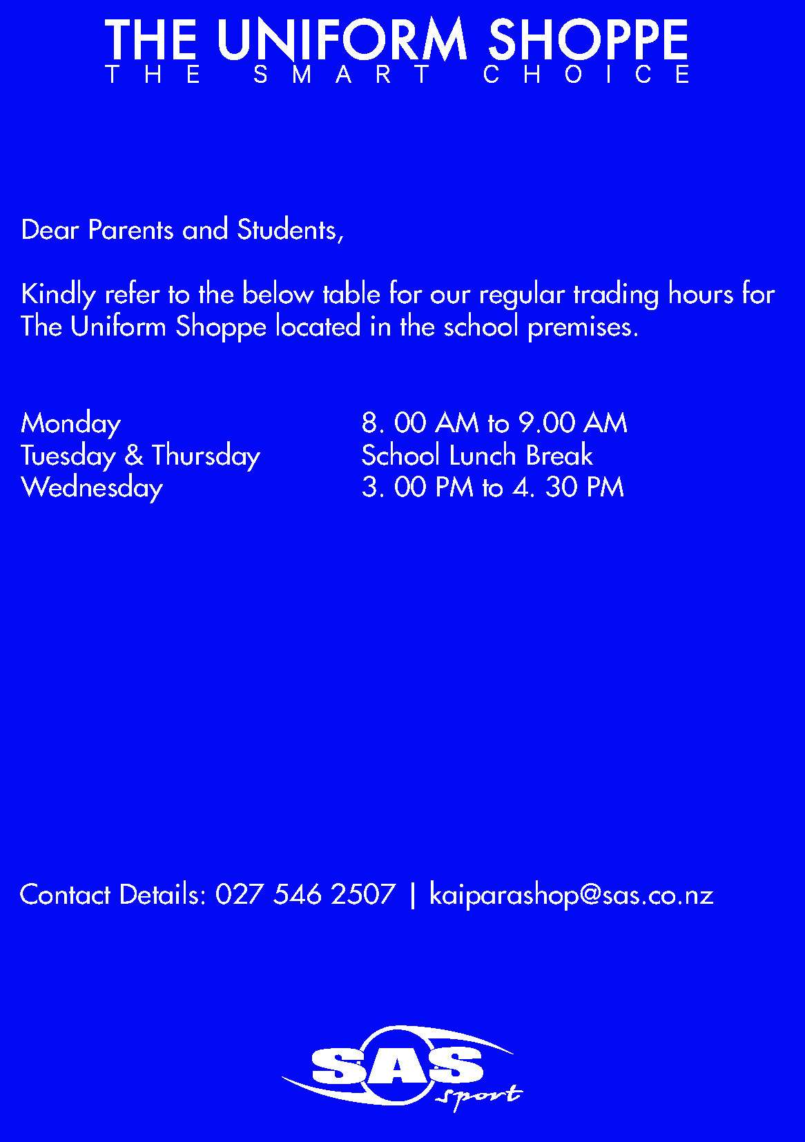 Kaipara College New Year Hours