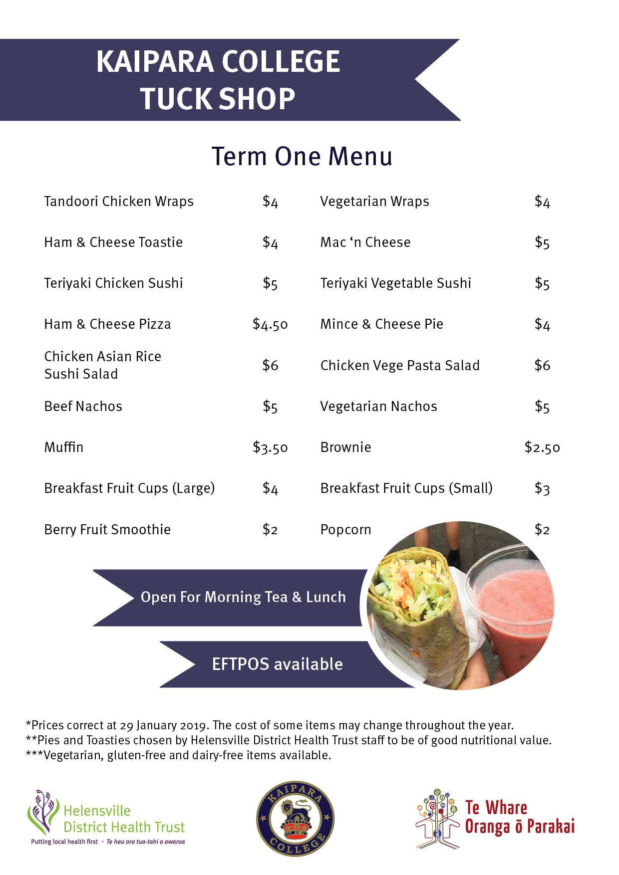 Twoop Kaipara College Tuck Shop Term 1 Menu 2
