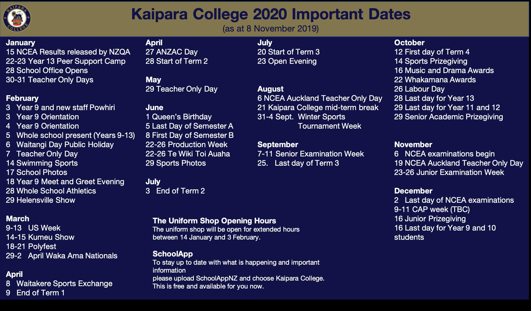 2020 Kaipara College Calendar