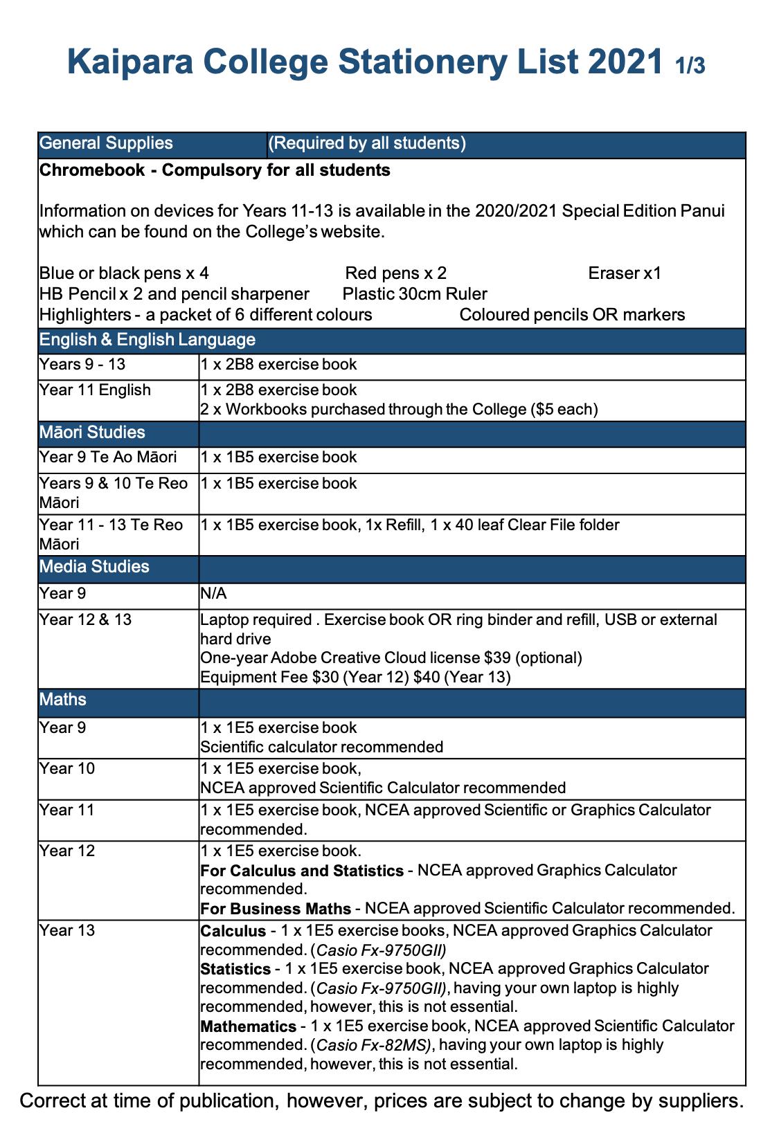 Stationery List Kc 2021 1:3