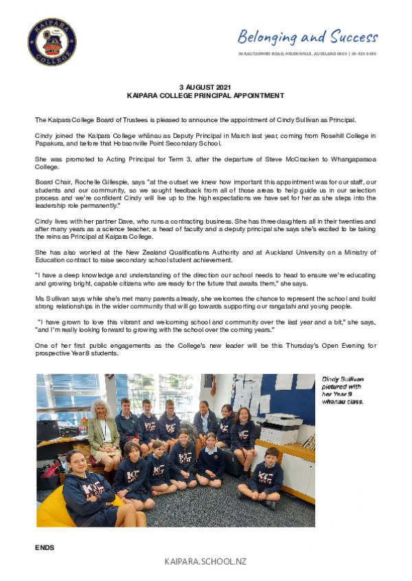 Media Release Kaipara College Principal Appointment   3 8