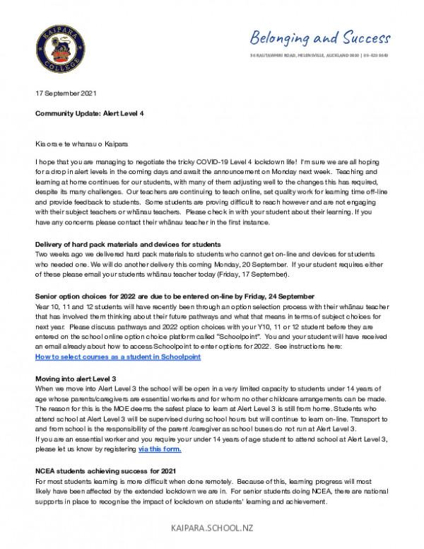 Kaipara College Community Update  Fri 17th Sept 2021